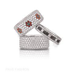 Assorted Pave Bands #diamond #jewelry www.bezambar.com