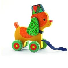 """""""Neko"""" the Wooden Dog Pull Toy, for ages 12 months and up, Made by Djeco"""