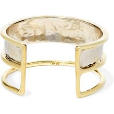 Anndra Neen Hammered gold-plated cuff ($305) ❤ liked on Polyvore featuring jewelry, bracelets, anndra neen jewelry, cuff jewelry, hammered bangle, gold plated jewellery and cuff bangle