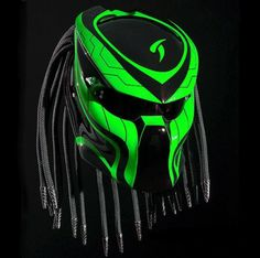 Wolf Predator Helmet Street Fighter Green Color For Bikers DOT Approved Green Motorcycle Helmet, Custom Motorcycle Helmets, Black Helmet, Custom Helmets, Women Motorcycle, Motorcycle Style, Bike Helmets, Street Fighter Motorcycle, Racing Helmets