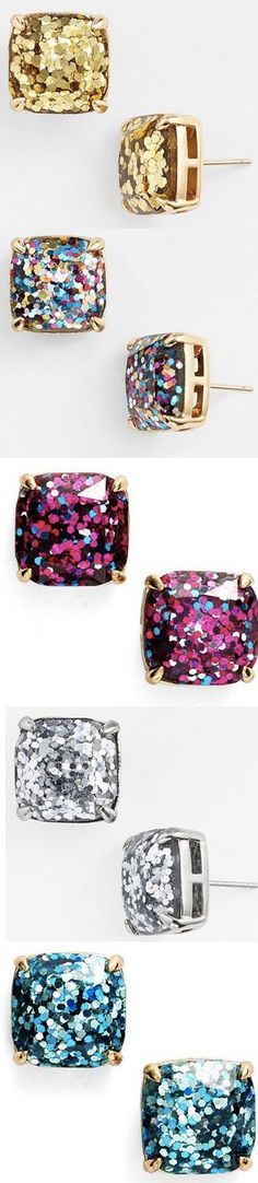 *update* They're only have the pink multi glitter & turquoise left!    kate spade glitter stud earrings - BACK IN STOCK - but not for long at $24.90 each!  Stock up for the holidays before they sell out!