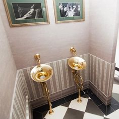 French Horn urinals. The proper way to use such an instrument