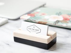 Wood Business Card Holder for Desk Black Hand Painted Wood Business Cards, Vertical Business Cards, Business Card Holders, Desk Name Plates, Black Desk, Name Cards, Desk Accessories, Craft Fairs, Unique Gifts