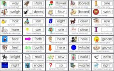 common homophones- the pictures would be so helpful!