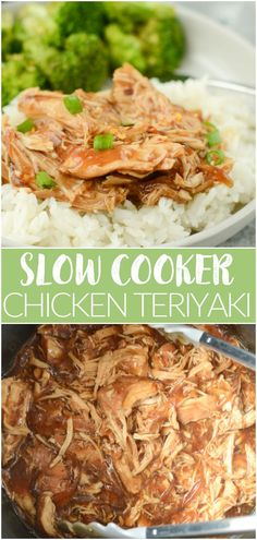 Slow Cooker Teriyaki Chicken - your new favorite takeout fakeout! Chicken breasts cooked in a sweet and slightly spicy sauce and served over rice!