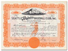 Seattle Rainier Baseball Club, Inc. (Signed by Emil Sick) Minor League Baseball, Baseball Players, Major League, Native American Population, Preferred Stock, Stock Ticker, American League, National League, Cincinnati Reds
