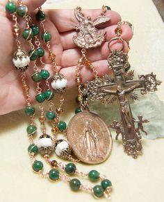 Green African Jade Bronze Rosary Wire Wrap by HeartFeltRosaries