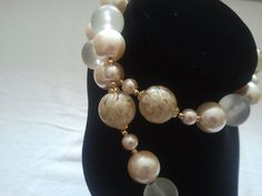 Items similar to Vintage Cream and gold tone Made in Japan necklace on Etsy Cream And Gold, 1980s, Pearl Earrings, Japan, Pearls, Stylish, How To Make, Etsy, Vintage