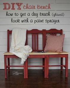 How to make a bench from three dumpster chairs. Easiest chair bench tutorial you will find. MyRepurposedLife.com