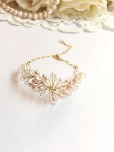 Pearl wedding bracelet gold bridal vines bracelet by FlowerRainbow