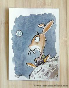 Terrapin and Toad: Sketchbook doodles - Rabbit on the moon. #terrapinandtoad