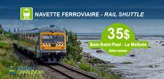 Navette Ferroviaire Malbaie, Charlevoix, Site Officiel, Train, Shuttle Bus Service, Vacation