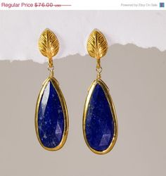 Aahhh I used to have a pair of earrings very similar to this but one of the beads broke...might have to consider getting these  CYBER MONDAY SALE - Bezel set long Lapis drops and 22K Gold Vermeil Earrings- September Birthstone - Free Shipping. $66.88, via Etsy.