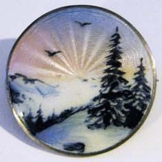 Antique Clement Berg Sterling Guilloche Enamel Scenic Brooch Pin Art Nouveau Jewelry, Jewelry Art, Vintage Charm Bracelet, Vintage Jewelry, Enamel Jewelry, Silver Jewelry, Round Canvas, Art Deco Design, Silver Enamel