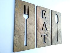 Eat Fork Spoon Kitchen Art Wooden Plaques Wall Decor Carved Wooden Gifts