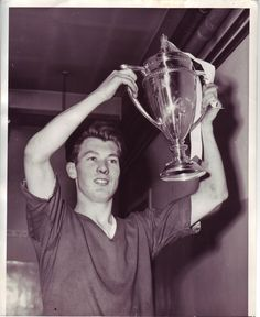 Kenny Morgans, Captain of the Manchester United Youth team, after defeating West Ham United in the F.A. Youth Cup Final 1956-1957.