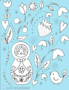 PDF Pattern Nesting Doll Hand Embroidery Matryoshka Russian Flowers Cute