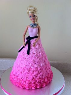Pink swirl Barbie birthday cake..if I ever have a little girl I would so do this for her
