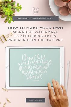 In this tutorial I'll show you how to create a signature watermark brush in Procreate so you can sign your lettering art digitally, quickly. #procreateapp #ipadlettering #procreatelettering #hollypixels via @hollypixels