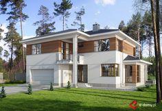 E-106 Dom piętrowy, rezydencja - E-DOMY.pl Projekty domów jednorodzinnych, piętrowych, energooszczędnych. Home Design Plans, Home Interior Design, Exterior Design, Mediterranean Homes, Selling Your House, Modern House Design, Home Fashion, Modern Architecture, Bungalow