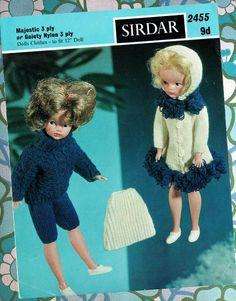 Items similar to PDF Vintage Christmas Doll Sindy Barbie Doll Clothes Knitting Pattern, Sirdar 2455 LOOPY Swing Coat Pixie Hood Skirt Fashion Doll on Etsy Barbie Knitting Patterns, Knitting Dolls Clothes, Knitted Dolls, Doll Clothes Patterns, Doll Patterns, Vintage Patterns, Crochet Patterns, Knitting Ideas, Sindy Doll