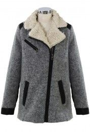 Shearing Wool Tweed Coat in Grey looks warm!