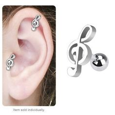 Music Note Steel Tragus Body Jewelry,