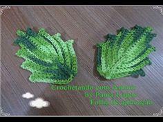 YouTube Crochet Leaf Patterns, Crochet Leaves, Form Crochet, Crochet Home, Irish Crochet, Crochet Motif, Crochet Designs, Crochet Doilies, Crochet Flowers