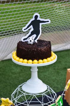 Cool cake at a soccer birthday party! See more party planning ideas at CatchMyParty.com!