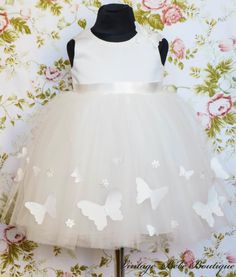 White dress with butterflies for little girl / christening dress