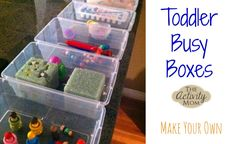 Toddler Busy Box - What is it and how do I make my own? Toddler Busy Box - What is it and how do I make my own? Outdoor Activities For Toddlers, Toddler Learning Activities, Rainy Day Activities, Indoor Activities, Holiday Activities, Toddler Preschool, Toddler Crafts, Fun Learning, 15 Month Old Activities