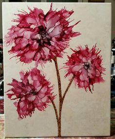 Blended flowers in alcohol ink on 8x10 tinted tile by Tina