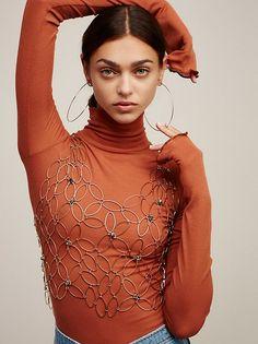 Zhenya Katava || FP Floral Chain Cropped Vest (Antique Gold)