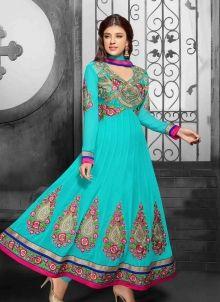 #Turquoise #Long #Georgette #Punjabi #Anarkali_suit