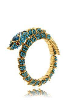 KENNETH JAY LANE ROYAL Turquoise Snake Bracelet PRET-A-BEAUTE.COM $306