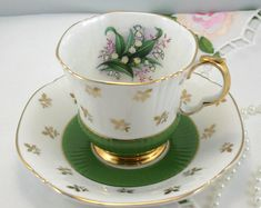 Royal Adderley Teacup & Saucer, Delicate Floral Accent, Crispy Green/White Borders, Nicely Gilded, Bone China made in England in 1960s.