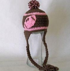 Crocheted baby girls football beanie