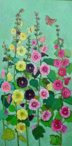Andrea Letterie, Holly Hocks, Gemengde techniek op paneel, 140x70 cm, €.1800,-