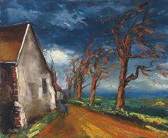 Maurice de Vlaminck (French, Modernism, 1876–1958): Personnage dans une rue de village. Oil on canvas 21-3/8 x 25-1/2 inches (54.2 x 65 cm). Private Collection.