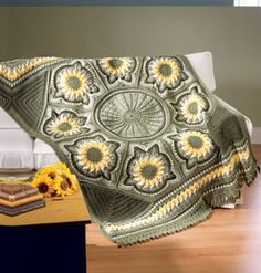 This may be my next project. Sunflower Afghan crocheted in worsted weight yarn.