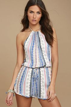 13b4a246e5f4 The Southwest World Blue Print Halter Romper will have you feeling festive  all year round!