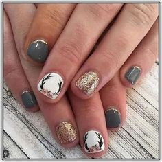 108 fall leaf nail art designs to let your hug autumn page 14 Fancy Nails, Pretty Nails, Pink Nails, Deer Nails, Western Nails, Gel Nagel Design, Fall Nail Art Designs, Chevron Nail Designs, Thanksgiving Nails
