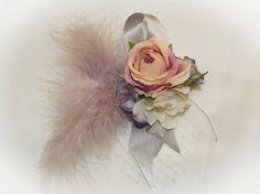 Lilienne - Soft Rose Feather Silk Headpiece Belt
