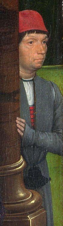Hans Memling-Trittico Donne, 1470-1475 circa, olio su tavola, , 70,5×30,5 cm (scomparto laterale con presunto autoritratto), Londra, National Gallery Hans Memling, National Gallery, Doublet, 15th Century, Men's Clothing, Medieval, Men's Fashion, Artist, Painting