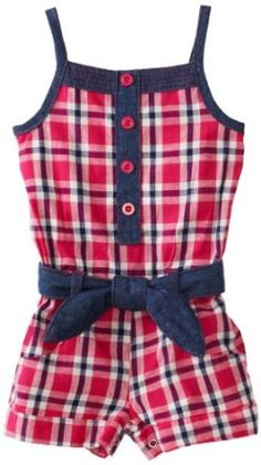 Carters Baby-Girls Infant Plaid Romper With Denim Belt $14.00