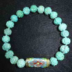 :-) Beaded Turquoise Bracelet with vintage enamel charm for sale :-) HappyFace313 :-)