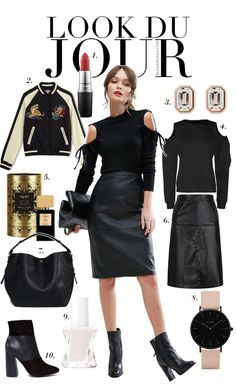 Look Du Jour: Munter Schulter!. Black cold shoulder top+black knee-length leather skirt+black boots+black and ivory embroidered bomber jacket+black handbag+blush and black watch+earrings. Spring Night Going Out Outfit 2017