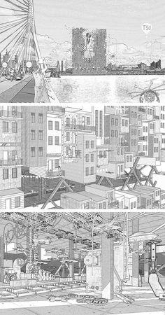 Design building sketch new architecture representation material re proccessing level render pics of design building sketch Architecture Panel, Architecture Graphics, Architecture Drawings, Gothic Architecture, Architecture Details, Landscape Architecture, Architecture People, Building Sketch, Landscape Plans