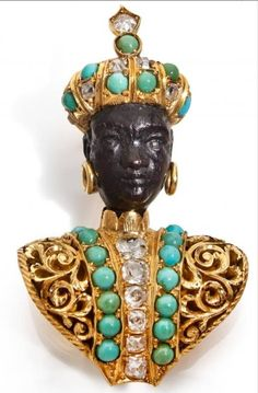 NARDI Blackamoor in ebony, gold, turquoise and diamonds | From a unique collection of vintage brooches at https://www.1stdibs.com/jewelry/brooches/brooches/