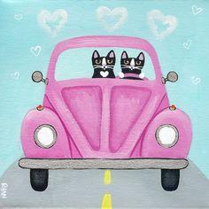 Pink Love Bug Original Cat Folk Art
